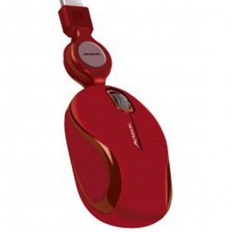 MINI MOUSE OPTICO ACTECK RETRACTIL USB MR-300 ROJO AC-01009